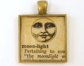 Moon Pendant - Word Moonlight Dictionary Page Sepia Square Resin Brass Jewelry Charm