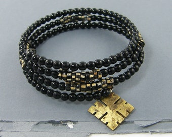 Black Bracelet Stack - Tribal Black Beaded Brass Cross Charm Rustic Ethnic Memory Wire Stacked Bangle Bracelet