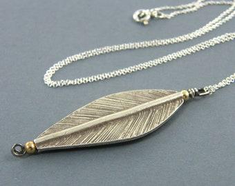 Silver Leaf Pendant Necklace, Long Silver Leaf Necklace, Long Leaf Necklace, Mixed Metal Jewelry |NC1-27
