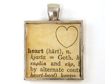 Heart Pendant - Sepia Dictionary Page Love Word Tan Silver Square Resin Jewelry Charm