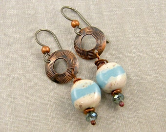 Oxidized Copper Earrings - Blue Cream Ceramic Bead Circle Dangle Jewelry |AB3-14