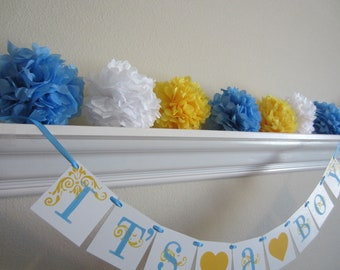 Baby Shower Tissue Paper Pom Poms, Weddings, Showers and Parties.. Set of 7 ...YOU PICK COLORS