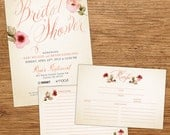 Watercolor Flower Bridal Shower Invitation with Recipe Card