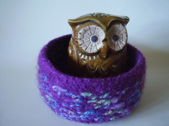 felted wool bowl container treasure dish plum mix eco friendly desktop storage jewellry holder
