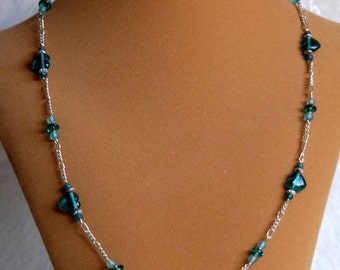 Teal glass hearts  Beaded Eyeglass holder or necklace