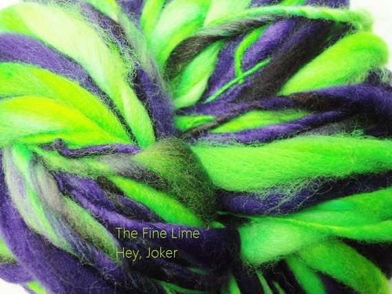 Handspun Merino Yarn Thick and Thin Lime, Purple, and Black - Hey Joker - Hand Dyed Wool