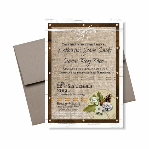 Burlap & Birch Wedding Invitation Suite Front Page: 5x7 Invitation, RSVP card, recycled envelopes