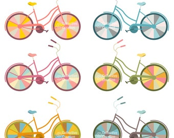 Colorful Bike Clip Art Clipart Set - Personal and Commercial Use
