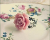 Pink Flower Ring Pink Ring Pink Rose Ring Vintage Style Lace Filigree Floral Ring Antique Brass Pink Flower Ring - L'Amour Rose