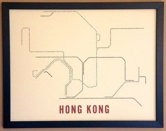 Hong Kong Typographic Transit Map Poster