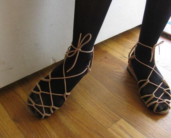 greek goddess lace up sandals vintage 50s