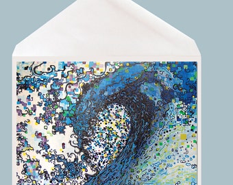 Abstract Art Greeting Card by Tamara Kapan titled Finding Peace - wave Art  - option to add personal sentiment inside card