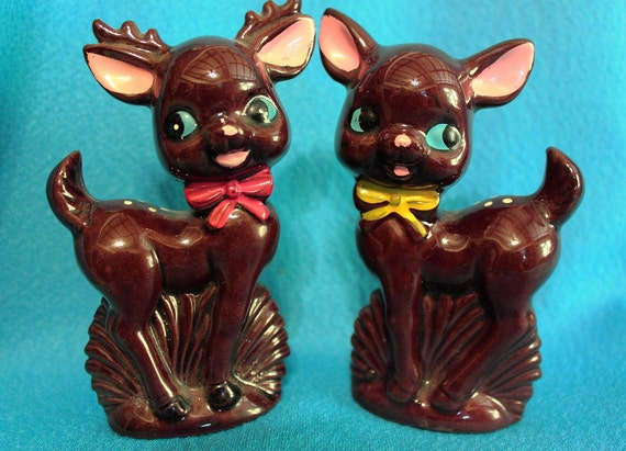 RESERVED Rebecca Chambers Vintage Deer Salt And Pepper Shakers.
