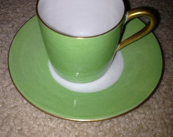 Green, White and Gold Limoges, France Demitasse Cup and Saucer