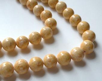 Riverstone beads in light brown round gemstone 10mm full strand 9458GS