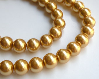 Gold glass pearl beads round 14mm full strand 2039GL