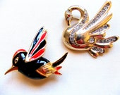 Two Beautiful Vintage FRENCH Swan & Bird BROOCHES