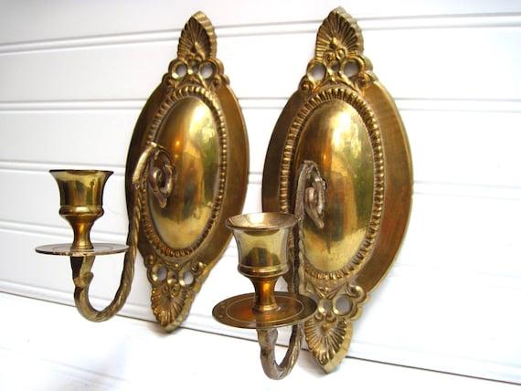Brass sconce pair traditional decor designer vintage