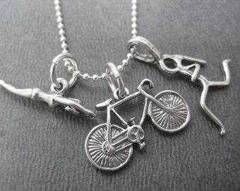SWIM BIKE RUN Tri Sterling Silver Triathlete Necklace - 16, 18 or 20 inch Sterling Silver Ball Chain - Choose Run Charm - Triathlete - Tri