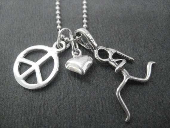 PEACE LOVE RUN Sterling Silver Necklace - 16, 18 or 20 inch Sterling Silver Ball Chain - Choose your Run Charm - Runner Peace - Solitary Run