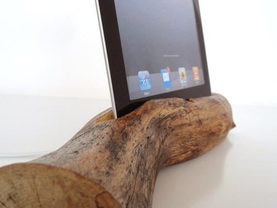 iPad 1 / iPad 2 / iPad 3 wooden rustic dock - sync, charge, can serve as holder / stand... unique present