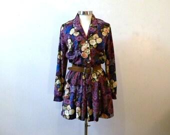80s Secretary Dress / Floral Long Sleeve Shirt Dress / Polyester Dress / Hipster Clothing / 80s Clothing / Medium / Long Sleeve