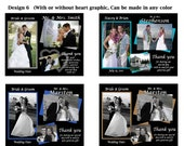 75 Personalized Wedding Thank You photo prints, including envelopes, damask, ANY ACCENT COLOR