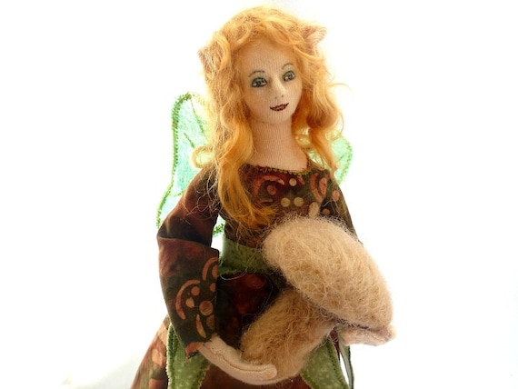 Art doll fairy cloth elf needlefelt mushroom soft sculpture Elven Gift