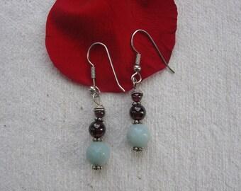 Garnet and Amazonite Earrings