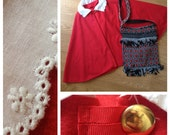 Handmade red velvet cape with peter pan collar in white