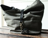 Grey CanvasTote Bag with Leather Details