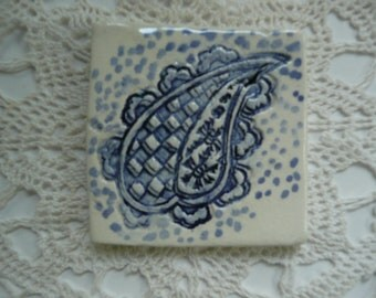 Handmade Ceramic Tiles - Paisley Wood Block Design