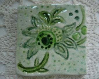Handmade Ceramic Tiles - Floral Wood Block Design