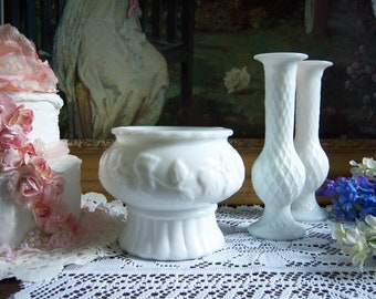 Pretty Trio of White Milk Glass Vases