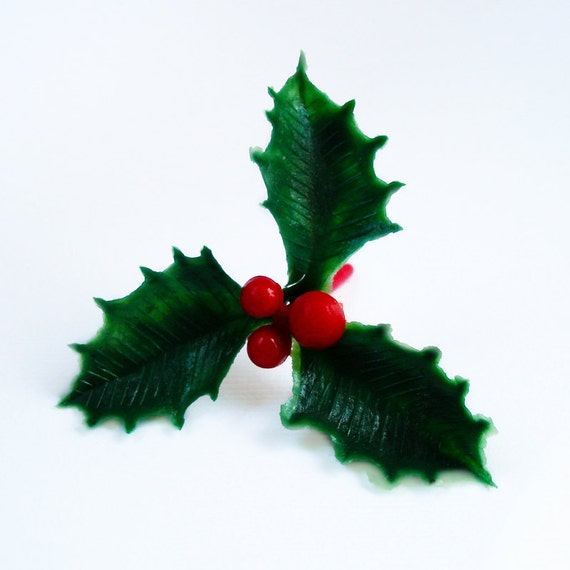12 Holly Leaves and Berries Holiday Cupcake Toppers Christmas Holly Berry Cake Picks