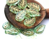 Green leaf beads Golden inlays Czech pressed leaves beads - 14x9mm - 12Pc - 0380