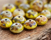 Autumn yellow Picasso Czech glass beads, donut, rondelle, gemstone cut - 5x8mm - 15Pc - 0411