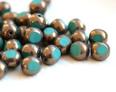 8mm Turquoise green Lustered czech glass beads, Fire polished, bronze luster, round cut - 12Pc - 0496