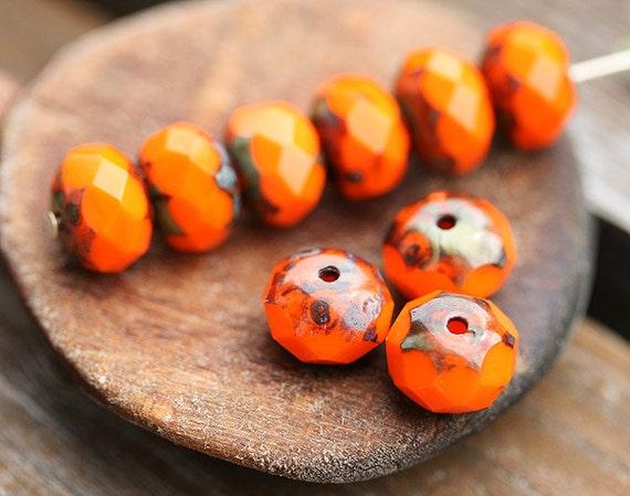 Bright orange Picasso Czech glass beads, donut, rondelle, Halloween beads - 6x8mm - 12Pc - 0401