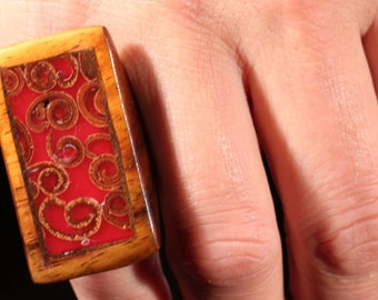 French 70s Ring Wood Ring Lacquered Ring Long Ring Hand Made Ring Artist Jewelry Ring Size Approx 7.75 US