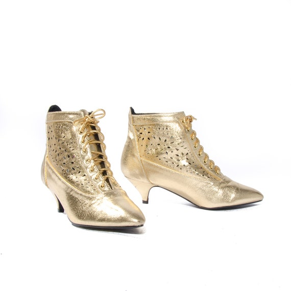 80s Glam Gold Shoes Metallic Lace up Ankle Booties Cut Out Leather size 6