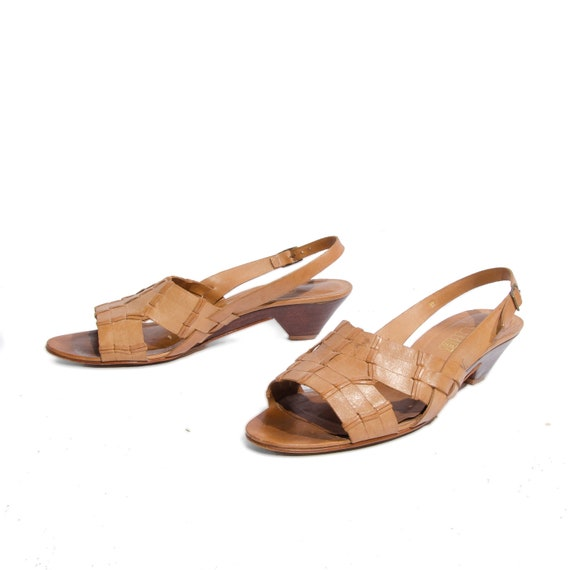 Honey Brown Slingback Woven Leather Kitten Heel Sandals by Cobbies size 8 M