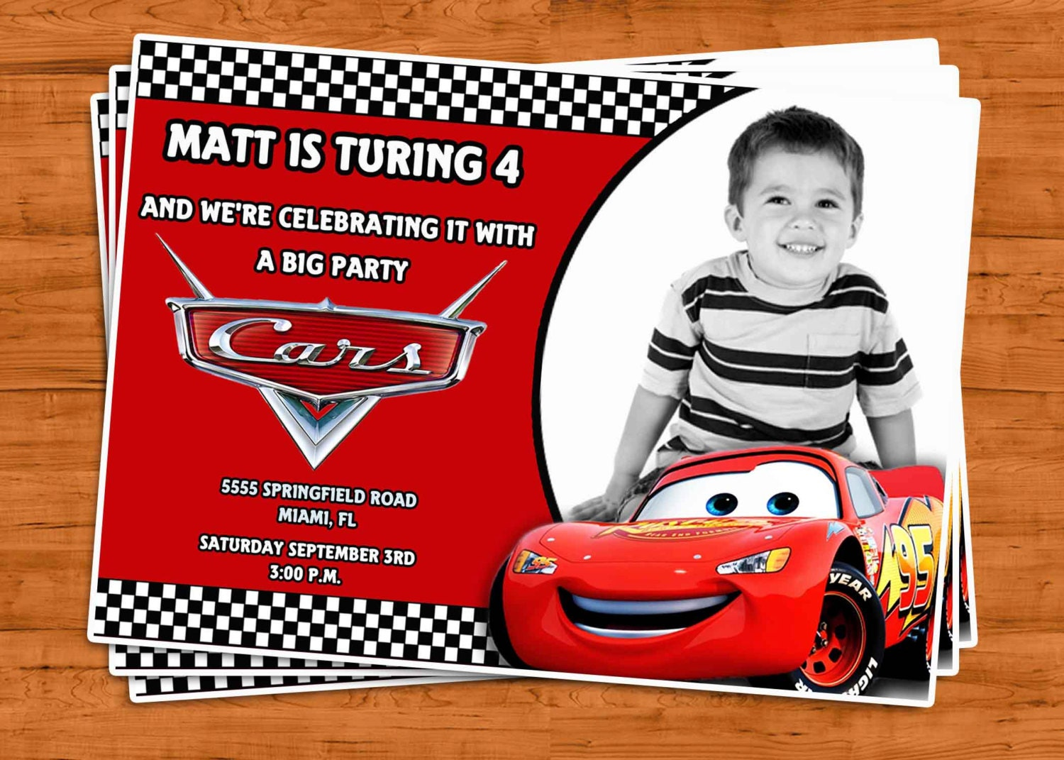 CARS Birthday Invitation U Print by PtyCards on Etsy
