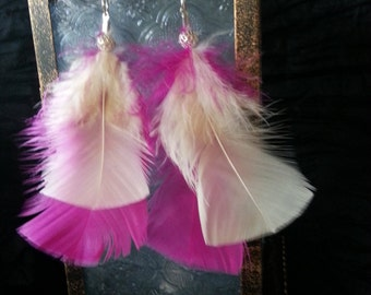 Hot Pink and White Feather Earrings