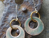 Golden Pastel Green Disc Earrings
