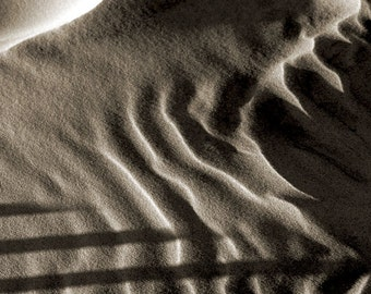 Black and White Beach Sand, Dunes, Coastal, Abstract, Original Signed Print by Photographer, Guy Pushée