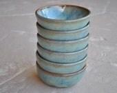 Set of 6 Stoneware Dessert Bowls in Fog Blue Gray