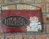 Gingerbread Kitchen Metal Sign..Kitchen Decor..Red...Ginger Collector