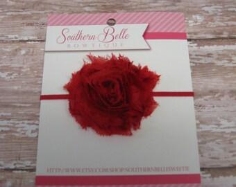 baby headband, infant headband, newborn headband - Red shabby flower headband