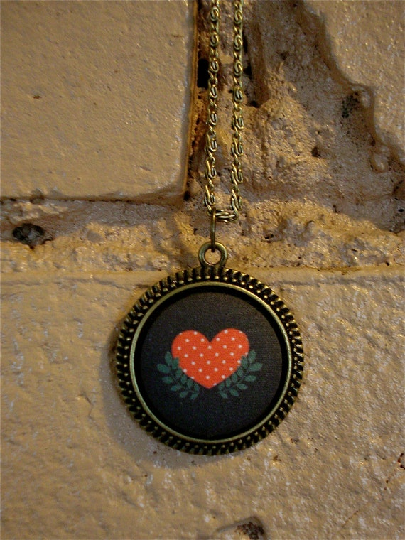 Fabric Button Necklace Folk Art Heart